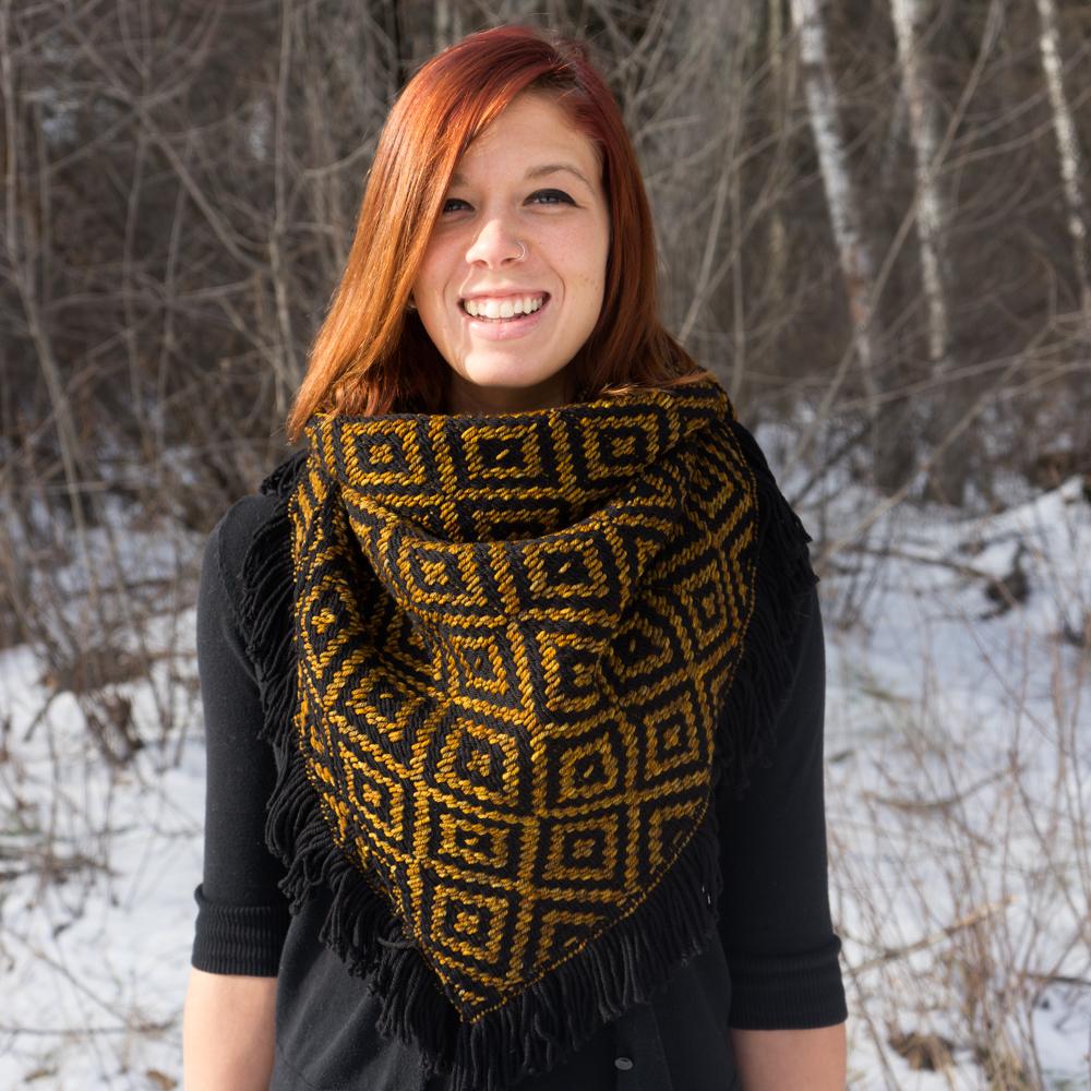 Liz Modeling Black/Glitter Heavy Winter Kerchief