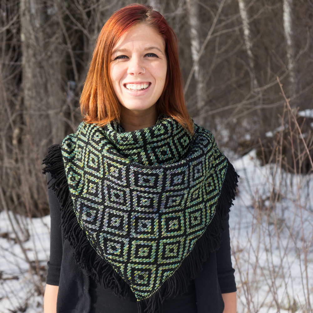 Liz Modeling Black/Indiecita Heavy Winter Kerchief