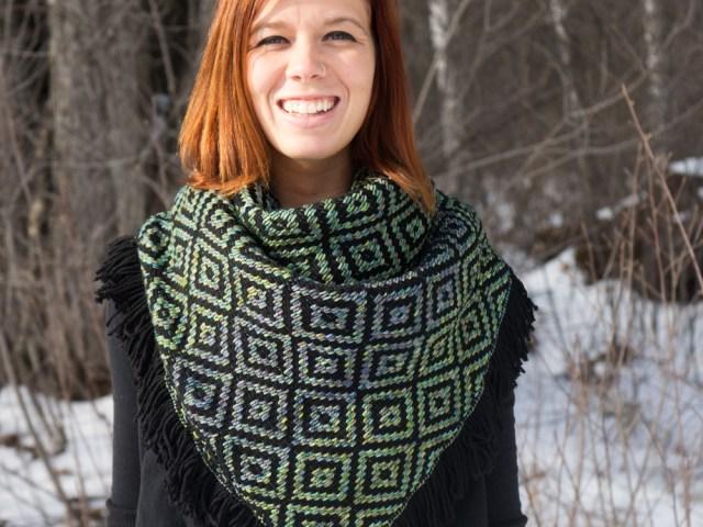 Liz Modeling Black/Indiecita Heavy Winter Kerchief