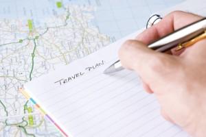 Hand writing travel plan