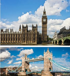 London-Paris Escorted Tours - Big Ben and London Bridge
