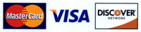 We accept MasterCard Visa and Discover