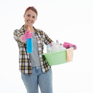lady with cleaning equipment