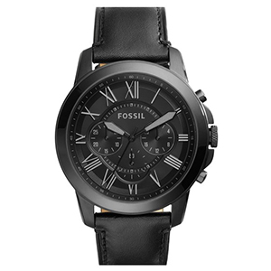 4-Grant Chronograph Leather Strap Watch by Fossil