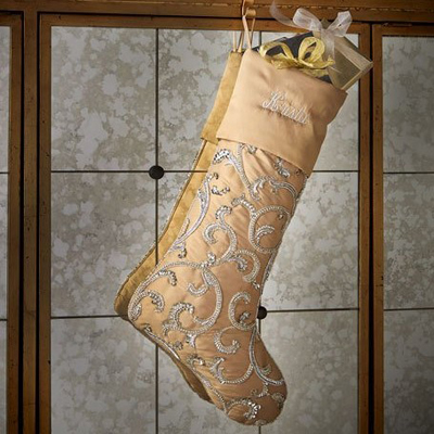 Beaded Scroll Christmas Stocking in Light Gold