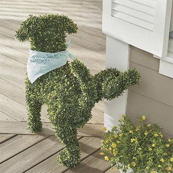 Peabody Faux Boxwood Garden Dog by Fancy
