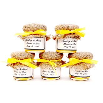 CustomLoveGifts Yellow Maple Syrup Wedding Favors from Etsy