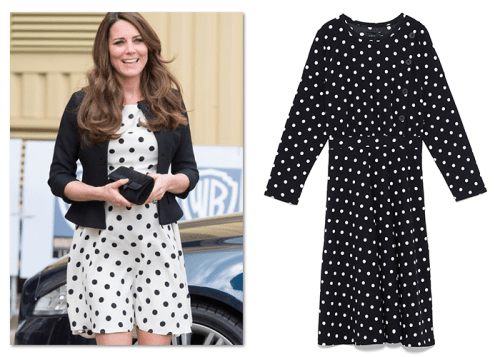 Royal fashion: Kate Middleton in polka-dot Zara dress
