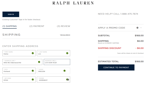 screenshot of Ralph Lauren US online store shipping address