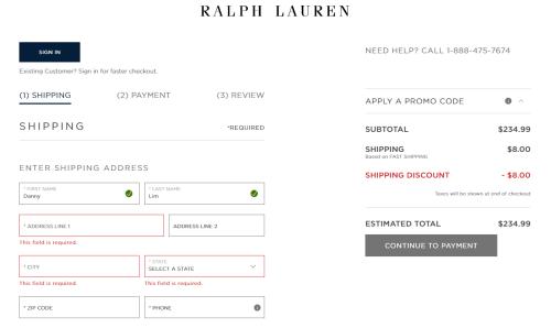 Ralph Lauren checkout failed