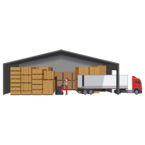 online shopping USA- icon of warehouse
