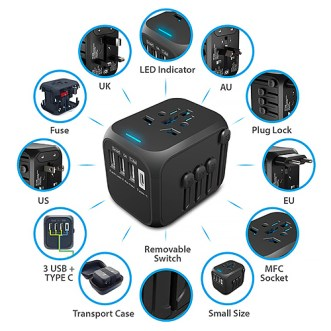 Galidora universal travel power adapter