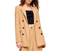 Topshop Camel Twill Double Breasted Suit Blazer