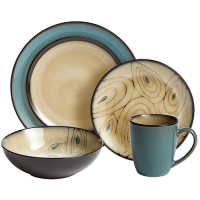 Teal Reactive Rim Dinnerware