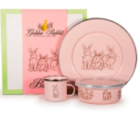 Golden Rabbit Pink Bunnies Enamelware Collection Set