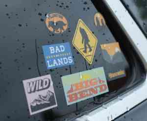 weatherproof stickers on a car window