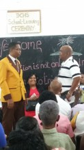 Dontae being given a speech of Mr. Eloi