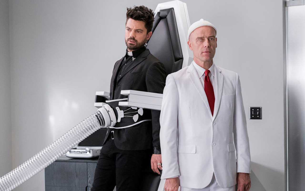 Dominic Cooper as Jesse Custer, Pip Torrens as Herr Starr - Preacher _ Season 3, Episode 8 - Photo Credit: Alfonso Bresciani/AMC/Sony Pictures Television