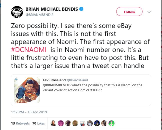BENDIS CLEARS UP THE NAOMI MISINFORMATION | CBSI Comics
