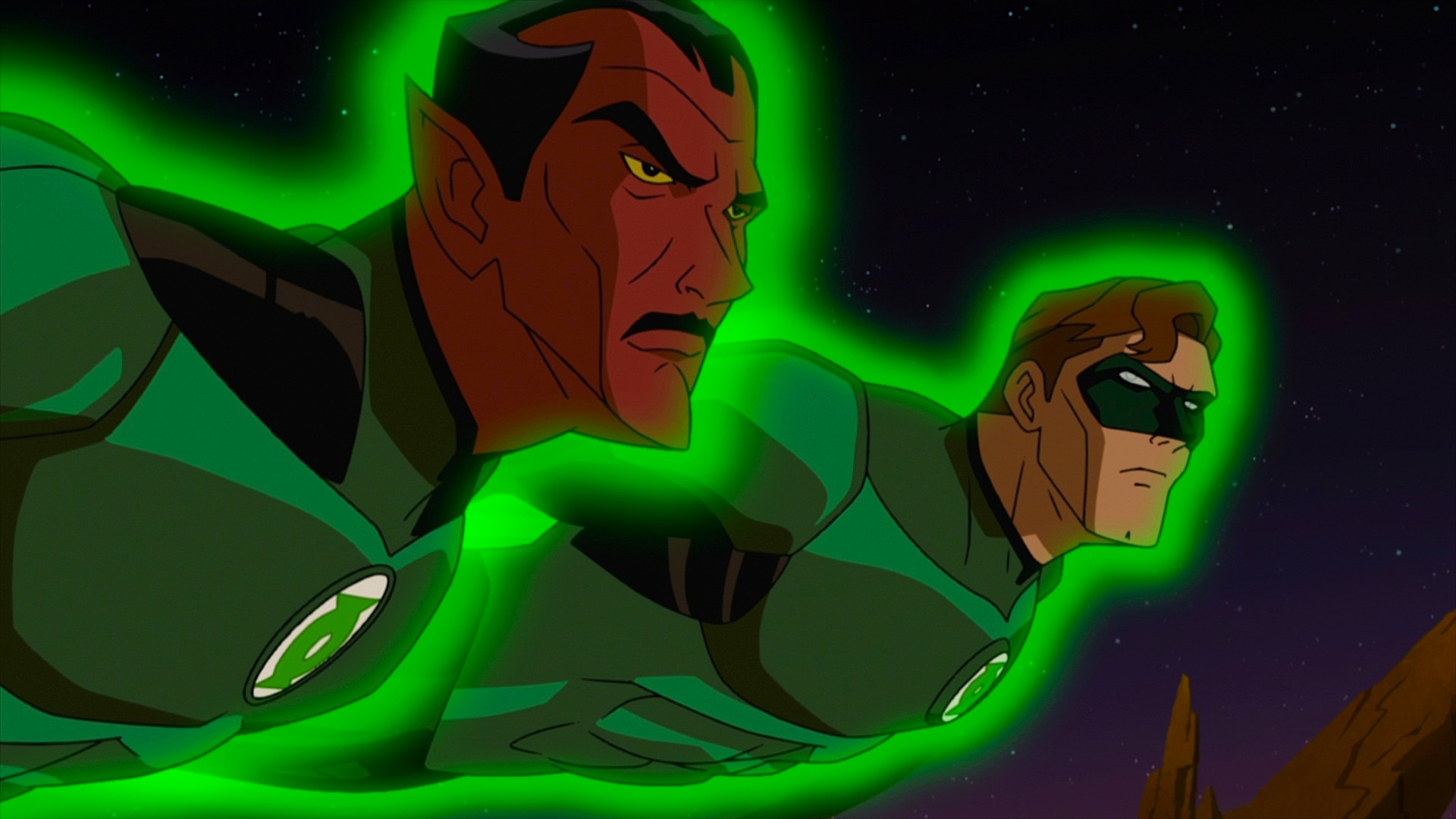 Sinestro and Hal Flying