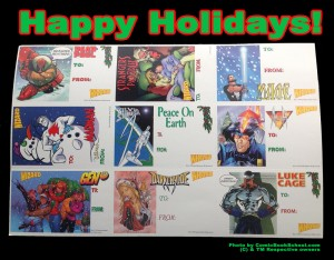Holiday themed tags from Wizard Magazine including superheroes like Deadpool, Strangers in Paradise, Mage, Madman, Silver Surfer, Ash, Gen13, Darkchylde, and Luke Cage.