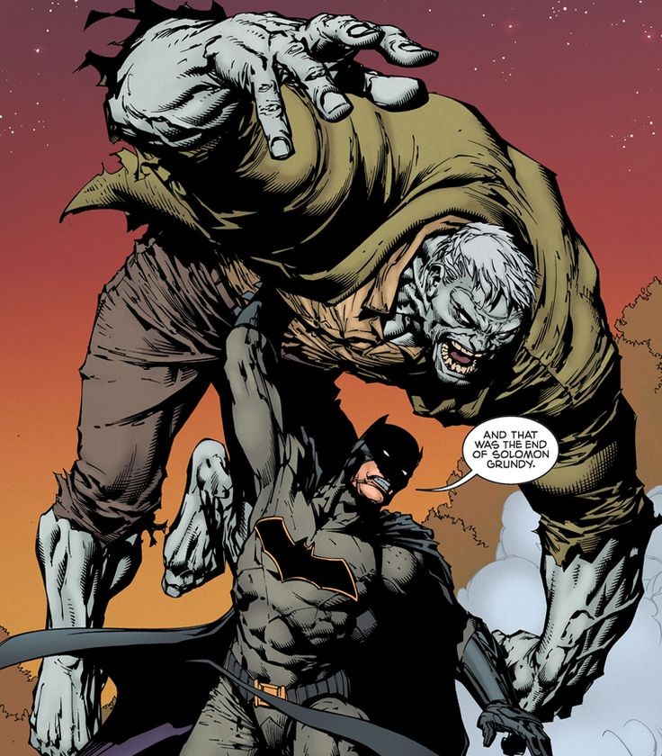 "Batman flipping SOLOMON GRUNDY: ""And that was the end of Solomon Grundy"""