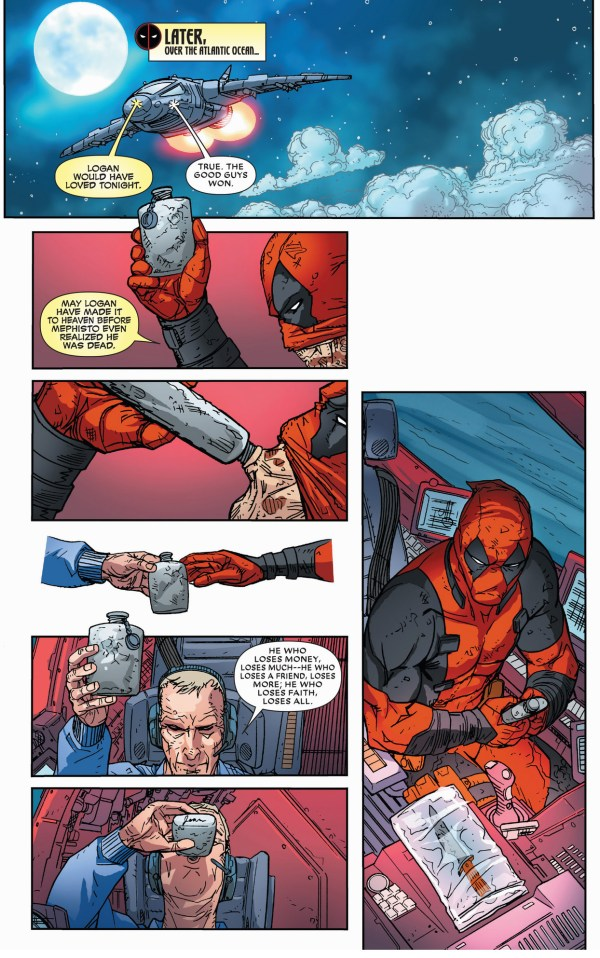 captain america and deadpool toasts to wolverine