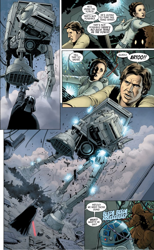 han solo attacks darth vader with an at-at