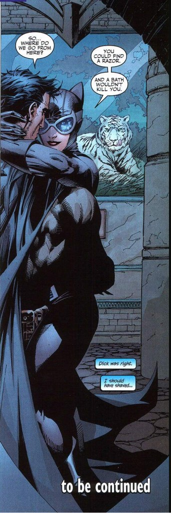 batman takes off his cowl for catwoman