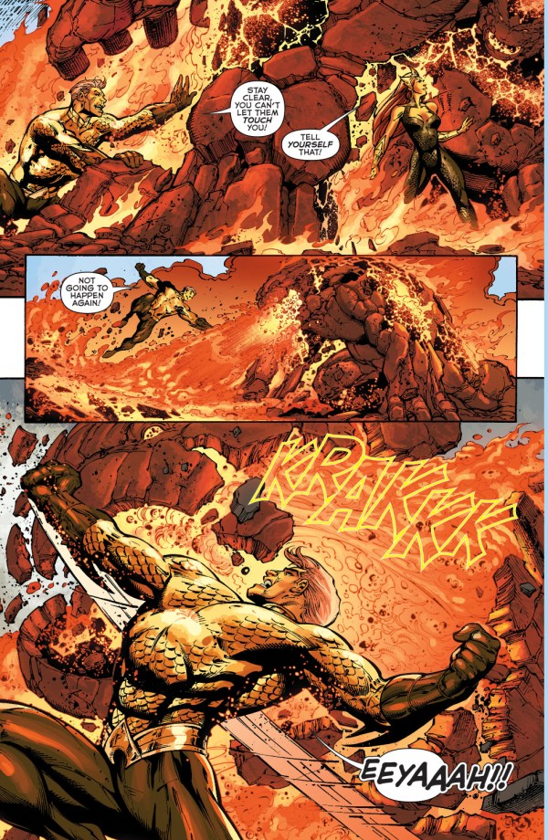 aquaman and mera vs volcanic golems