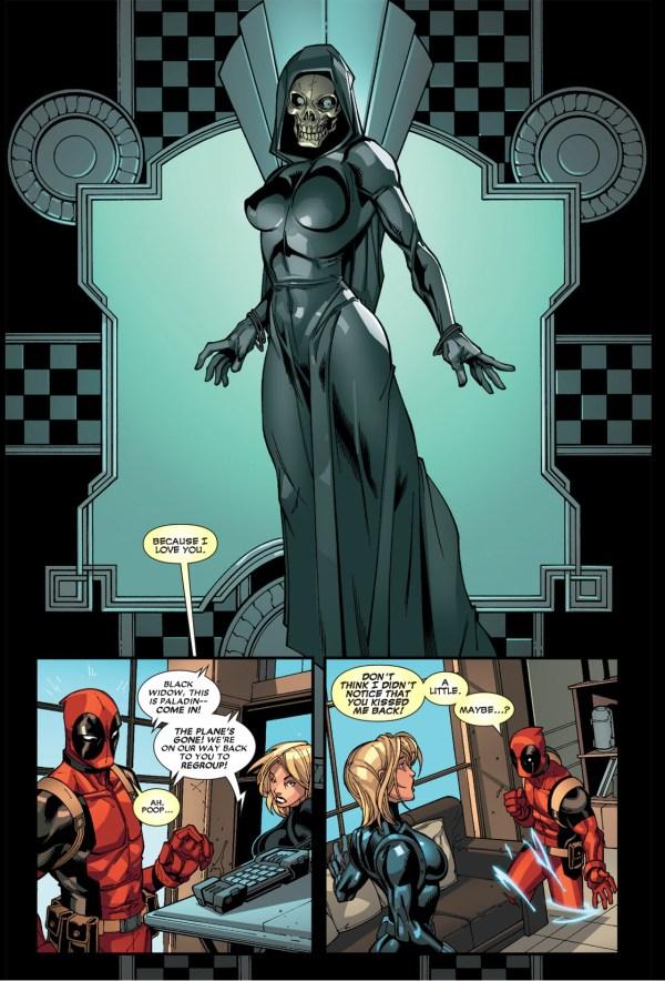 deadpool kisses black widow