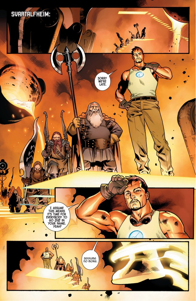 iron man creates asgardian weapons