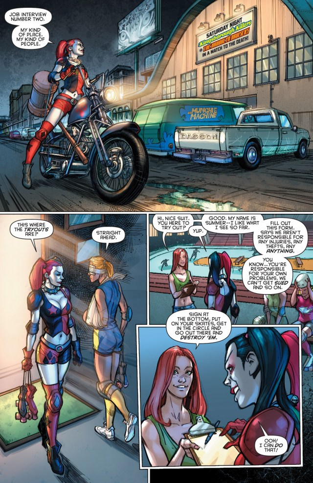 harley quinn tries out for roller derby