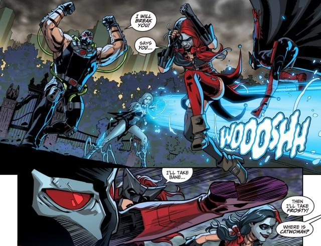 batwoman and harley quinn vs bane and killer frost vs superman and wonder woman