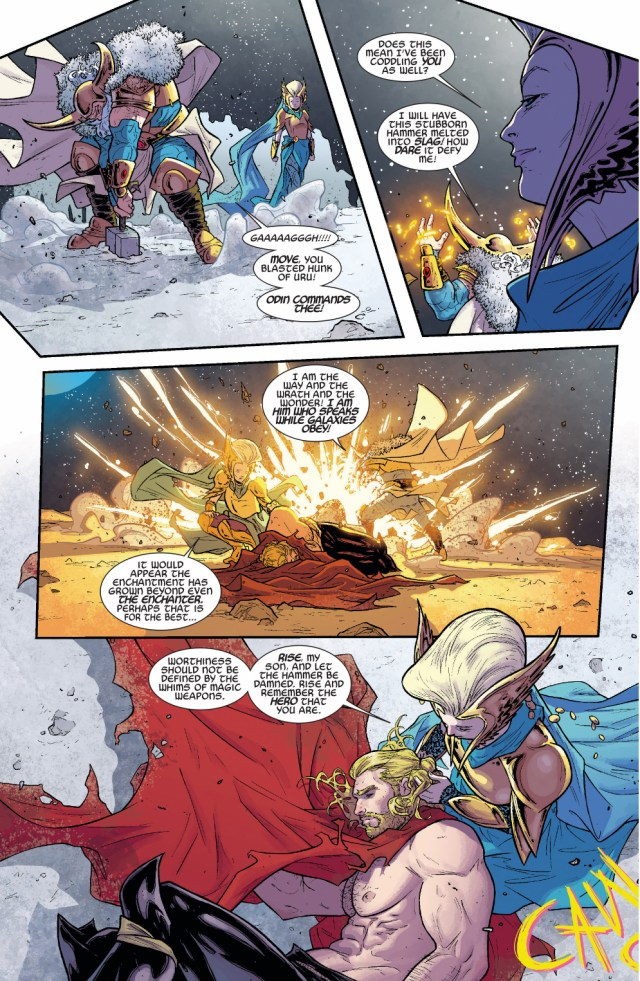 odin is unable to lift mjolnir