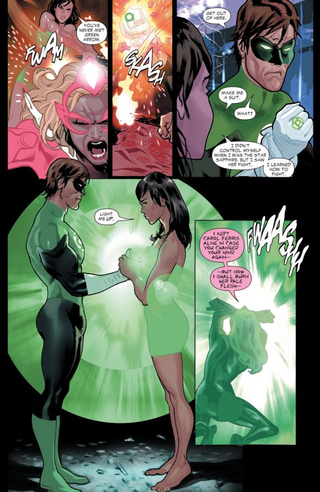 Hal Jordan Creates A Green Lantern Suit For Carol Ferris