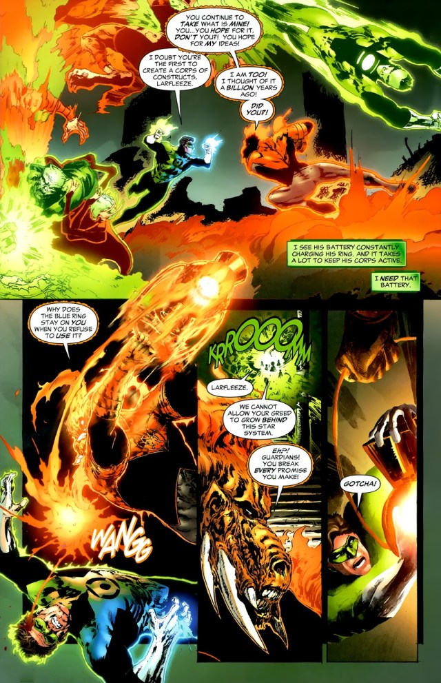 Hal Jordan With Green And Blue Rings VS Larfleeze