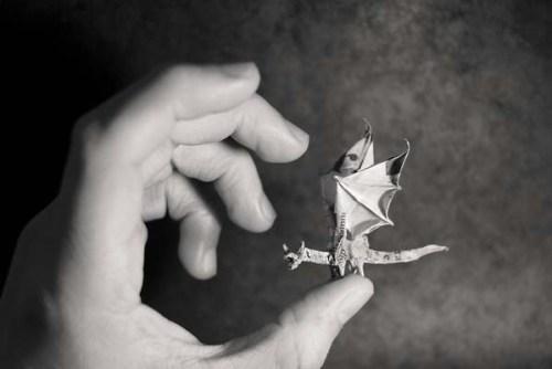 tiny origami dragon