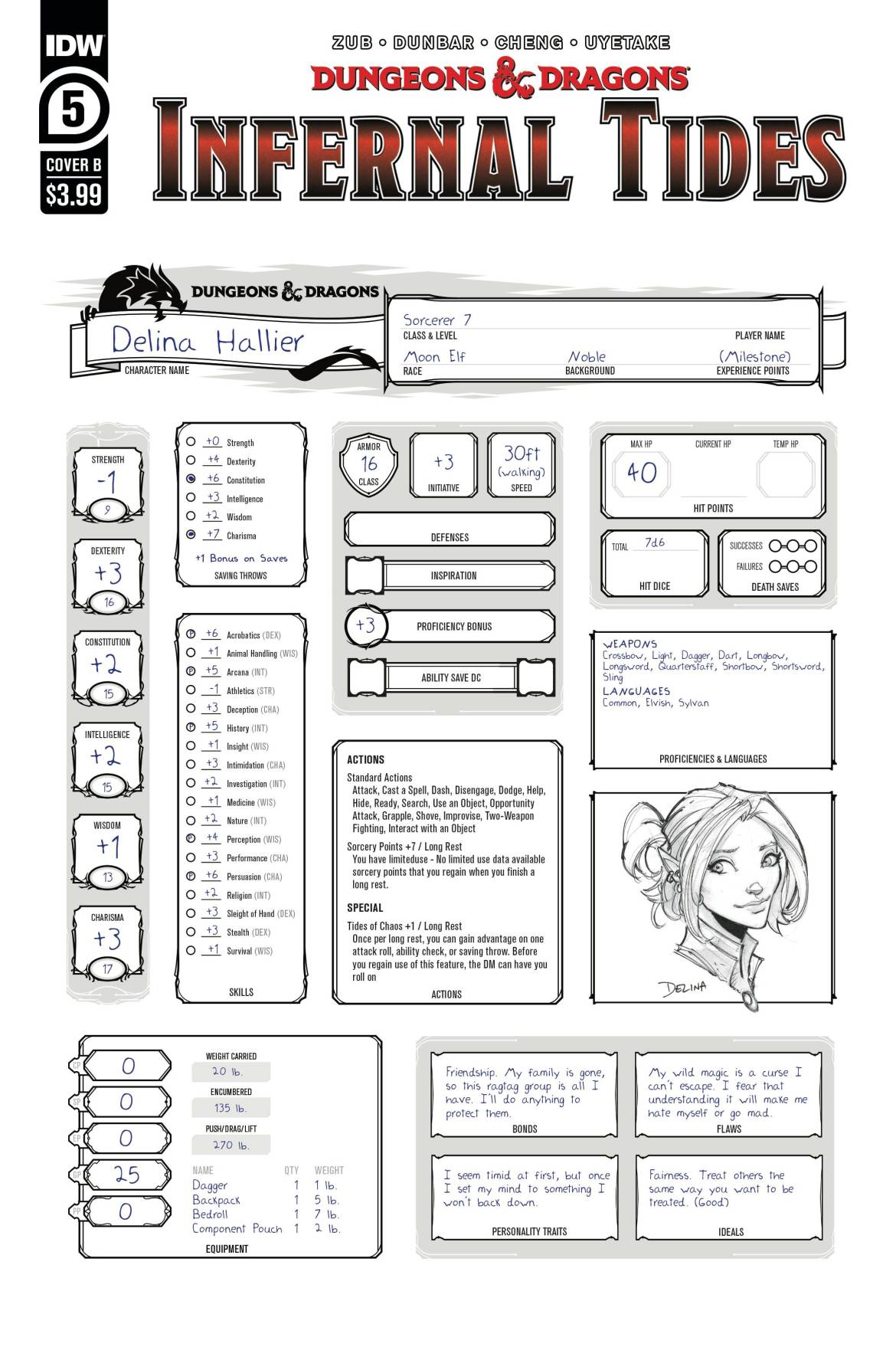 789233_dungeons-dragons-infernal-tides-5-cover-b-character-sheet ComicList: IDW Publishing New Releases for 08/12/2020