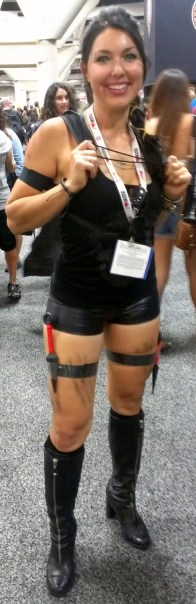 Tight costume on booth babe at Comic-Con