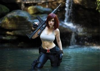 A Black Widow Cosplayer in tank top