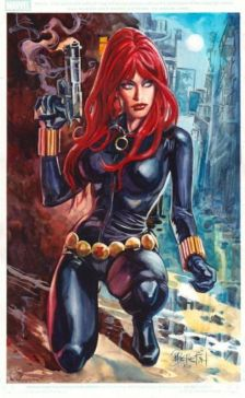 Black Widow color art by Dan Brereton