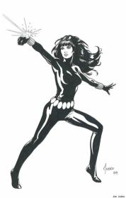 Black Widow black and white sketch by Joe Jusko
