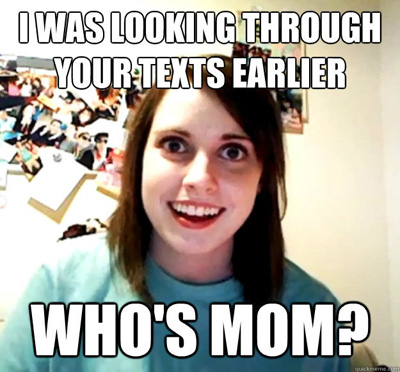 overly attached girlfriend meme (whos mom)