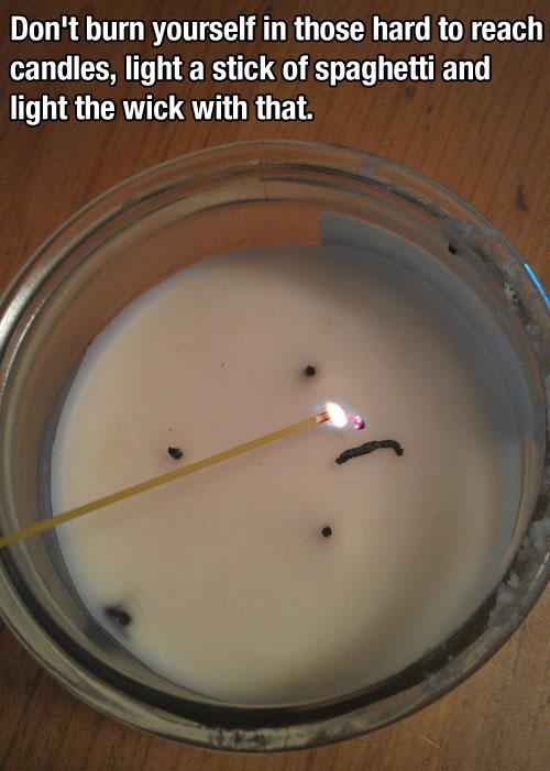 speghetti light candle life hack