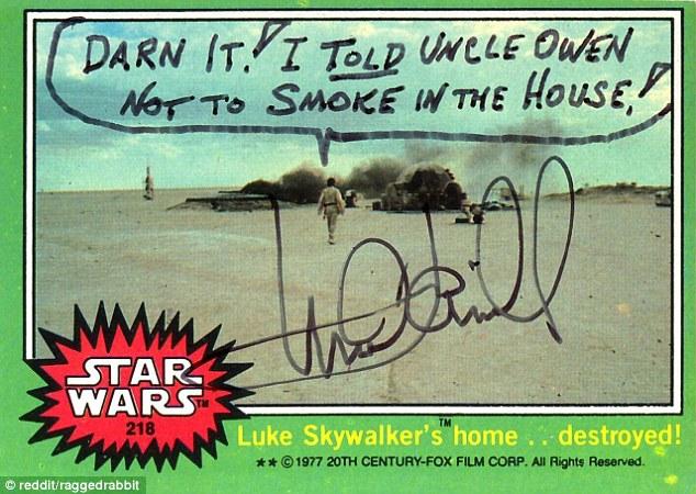 Mark Hamill Star Wars Trading Card Joke 005 Darn It Smoke In House