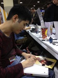 Marvel artist Craig Yeung at work