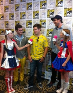Uncle Grandpa cast and crew from left to right  - Audie Harrison (Creative Director), Adam Devine (Voice of Pizza Steve), and Pete Browngardt (Creator)