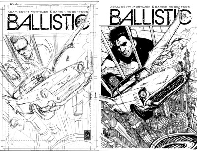 Ballistic #2 cover, rough and inked