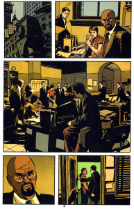"A page from Greg Rucka and Michael Lark's ""Gotham Central""."